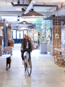Anouk Beerents op fiets in atelier met hond en grote spiegels aan muur
